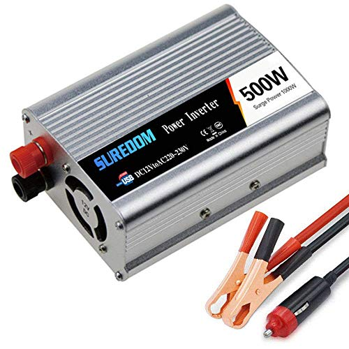 YVX Inversor de Corriente de 500W DC 12V / 24V a 110V 220V 230V 240V AC Transformador Convertidor con Puertos USB y enchufes del Reino Unido Cargador Adaptador de Encendedor, 12Vto220V