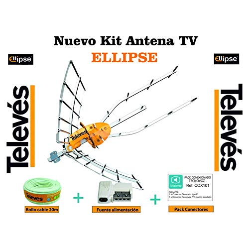 Kit Creado Pot Tecnovoz. Nueva Antena TELEVES Ellipse 148922 + Rollo de Cable 20Mt + Conectores (2ª Dividendo Digital (LTE700))