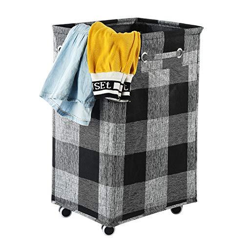 ALINK - Cesta para la ropa sucia, plegable, con ruedas, plegable, ruedas y cesto de almacenamiento, color negro (XL)