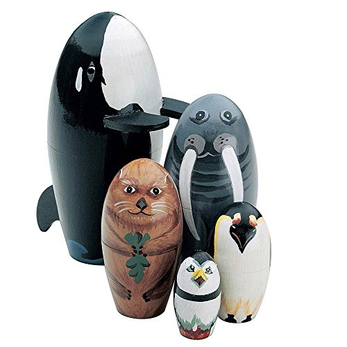 Bits and Pieces - Willy and Friends - Matryoshka Dolls - Wooden Russian Nesting Dolls - Sea Life Animal Figurines - Whale, Walrus, Penguin - Stacking Dolls Set of 5