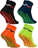 Rainbow Socks - Hombre Mujer Calcetines Antideslizantes de Deporte - 4 Pares - Negro Azul Naranja Verde - Talla 42-43