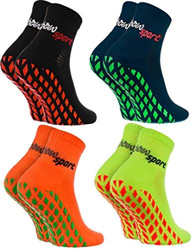 Rainbow Socks - Donna Uomo Neon Calze Sportive Antiscivolo - 4 paia - Nero Blu Arancione Verde - Taglia 39-41