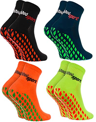 Rainbow Socks - Damen Herren Neon Sneaker Sport Stoppersocken - 4 Paar - Schwarz Blau Orange Grün - Größen 44-46