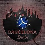 Reloj de Pared LED con Disco de Vinilo de Barcelona de 12...