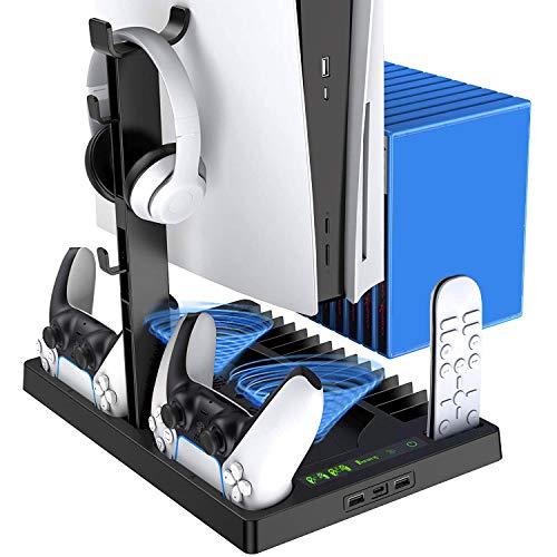 Fbewan Supporto Verticale con Ventola di Raffreddamento per PS5 Digital Edition/Ultra HD Game Console, Stazione di Ricarica per Controller Stand per Playstation 5 con 15 Slot di Gioco retrattili