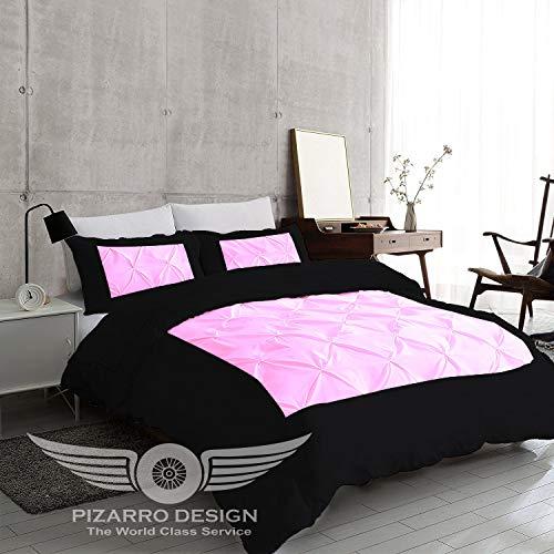 PIZARRO DESIGN 1000-TC Housse de Couette hypoallergénique Ultra Douce 100% Coton égyptien avec Fermeture éclair et 2 taies d'oreiller, Coton, Aqua, 95x88 Euro King IKEA Size