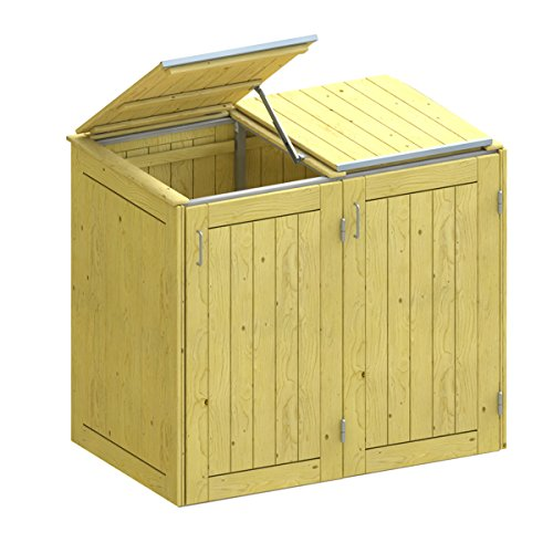 BINTO Holz Mülltonnenbox System 2K - für zwei Mülltonnen inkl. Klappdeckel - 5106