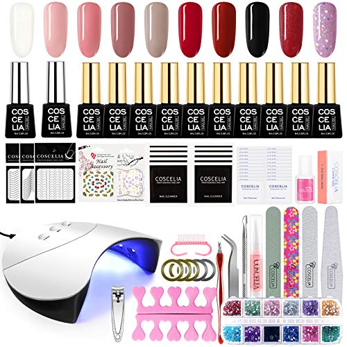 Saint-Acior Kit Smalto Semipermanente 10 Colorati in gel Soak off UV Gel con 36W LED+UV Lampada per Unghie Ricostruzione Manicure Completo
