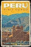 Peru Visit CUACO Tin/Metal Style Street Poster for Men