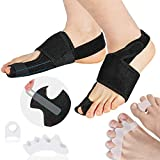 Orthopedic Bunion Corrector and Bunion Relief - Bunion Splint Adjustable Hammer Toe Straightener Toe Spacers Big Toe Separators for Women&Men with Integrated Aluminum Plate Support - 3 Pairs