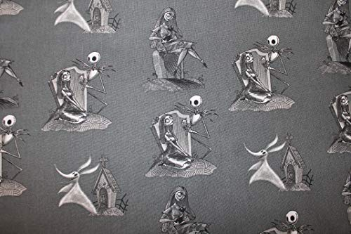 Nightmare Before Christmas Fabric Jack and Sally Graveyard Scene Sold by Fat Quarter (18' X 22') New BTFQ