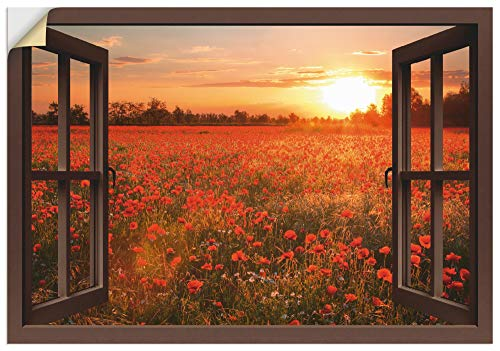 Artland Wandbild selbstklebend Vinylfolie 70x50 cm Wanddeko Wandtattoo Fensterblick Fenster Blumen Natur Mohnblumen Sonnenuntergang T5ZN