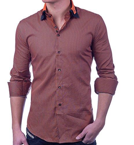 Herren Hemd Langarm Nadelstreifen Shirt Casual, Größe Hemd:XL, Farben:Orange