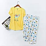 XFLOWR Summer Ladies Cute Cartoon Animal Printed Pyjama Set Comfort Soft Cotton 2pcs Ropa de Dormir Loose Women Casual Wear Homewear Set M Camel-Yellow