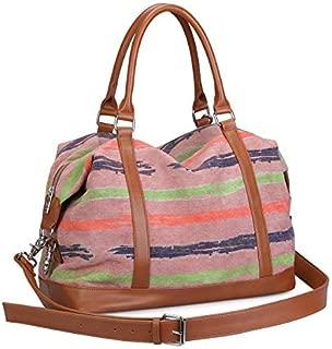 Women Canvas Weekender Bag Carryon Shoulder Tote Duffel PU Leather Strap