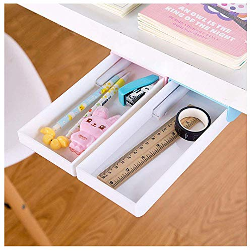 Pencil Tray Under Desk Drawer Organizer Storage Self-Stick Pop-up a Pack of 2 (Pink and Blue)