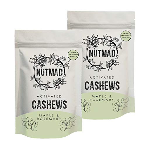 Nutmad Activated Cashews Maple & Rosemary Multipack, Activated Nuts, Suitable for Vegans and Gluten Free. 2 x 70g