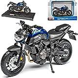 Yamaha MT-07 Naked Bike Blau Ab 2014 1/18 Maisto Modell Motorrad mit individiuellem Wunschkennzeichen