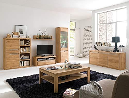 expendio Wohnzimmer Pisa 49 Eiche Bianco massiv 6-teilig Wohnwand Couchtisch Sideboard Wohnmöbel