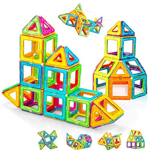 Condis 62 Piezas Bloques de Construcción Magnéticos para Niños, Juguetes Niños de 3 4 5 6 7 8 Años Juegos Magneticos Educativos Viaje Juego de Imanes magneticas para Niños Niñas Montessori Regalos