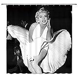 Marilyn Monroe Duschvorhang, klassischer Film-Stil, sexy & charmant, Badezimmer-Dekoration, Polyester-Stoff, wasserdicht, 177,8 x 177,8 cm, inklusive Haken, Schwarz / Weiß