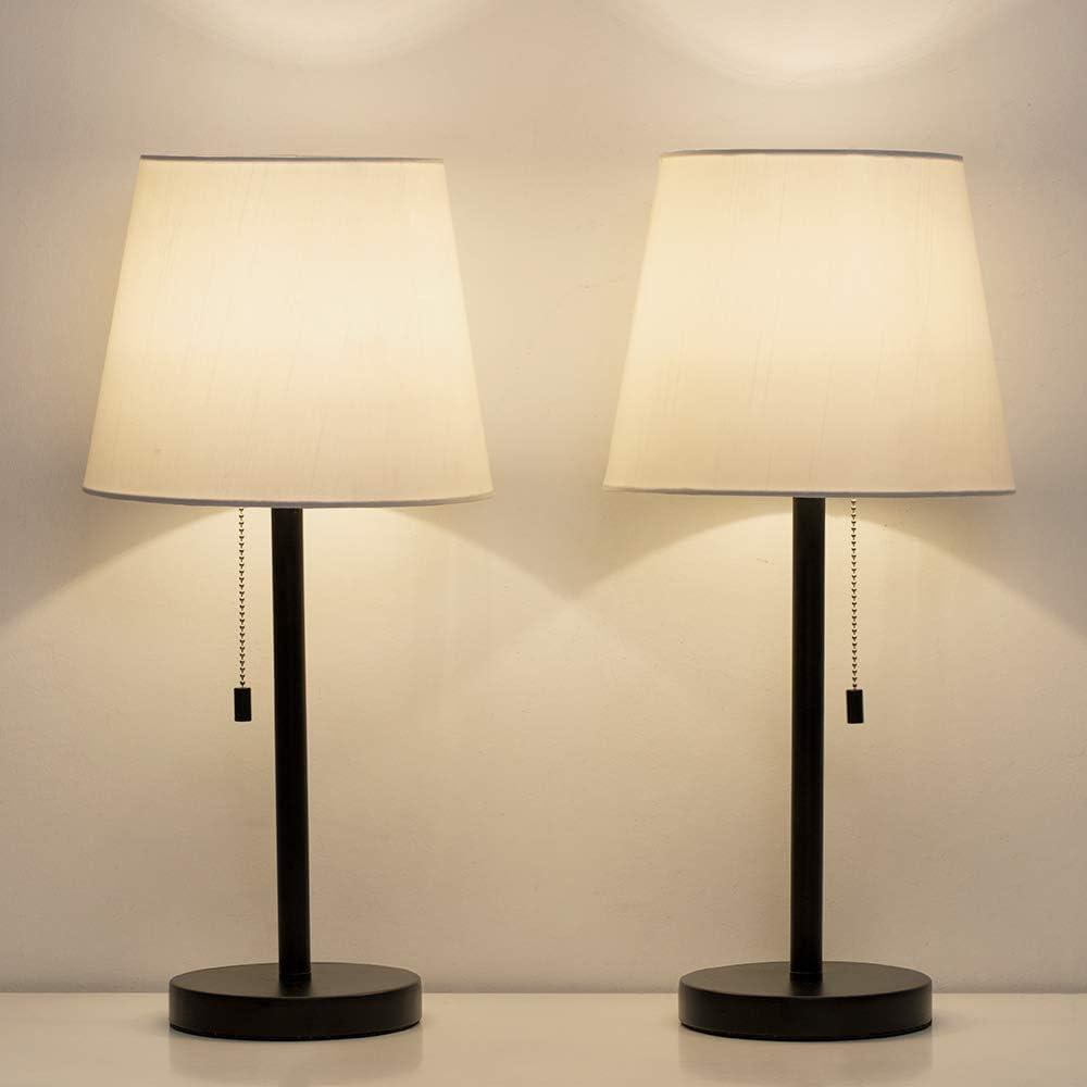 HAITRAL Bedside Table Lamps Set of 11 - Black and White Modern Desk Lamps  for Bedroom, Dorm, Living Room, Office 110 inch H