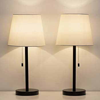 Haitral Bedside Table Lamps Set Of 2 Black And White Modern Desk Lamps For Bedroom Dorm Living Room Office 20 Inch H Amazon Com