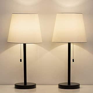 "HAITRAL Bedside Table Lamps Set of 2 - Black and White Modern Desk Lamps for Bedroom, Dorm, Living room, Office (20"" H)"