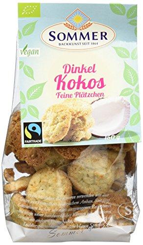 Sommer Bio Dinkel Kokos, Feine Plätzchen, vegan, 6er Pack (6 x 150 g)