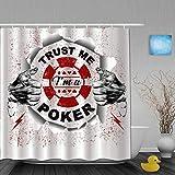 ShopHM Cortinas de Ducha,Confía en mí, Soy un póker, Cortina de Baño Material de poliéster Resistente al Agua con Ganchos 180 * 210cm