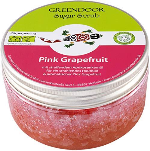 Greendoor Körperpeeling Sugar Scrub Pink Grapefruit 230g, Zucker Peeling ohne Mikroplastik, natürliches Duschpeeling, Naturkosmetik für Damen und Männer, Natur Body Scrub, vegan