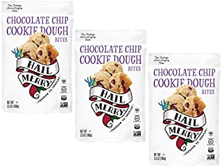 Hail Merry - Merry Bites Macaroons NEW Packaging - Chocolate Chip Cookie Dough Flavor - 3.5 oz each, Paleo, Vegan (3 Pack)