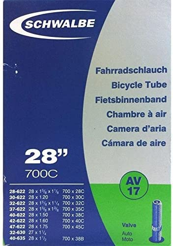 SCHWALBE AV17 Bicycle Inner Tube with Schrader Valve 28 inch 37622 MM 28 x 1 3 8 x 1 5 8 inches product image