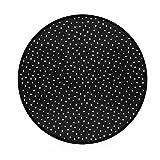 ALAZA Classic Cute Black White Polka Dot Non-Slip Round Area Rug for Bedroom Living Room Study Playing Floor Mat Carpet, 3' Diameter