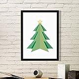 DIYthinker Extracto del árbol de Navidad de Origami patrón de la Pintura del Arte Foto de la Imagen del rectángulo de Madera del hogar del Marco Regalo decoración de la Pared Pequeña Negro
