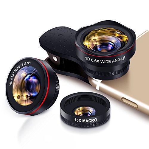 Handy Objektiv Kamera Linse Kit 3 in 1 Lens Set, 0.6X 145° Weitwinkel + 15X Makro + 0.28 X fisheye Lens, Universal Clip On for Smartphone iPhone Samsung Huawei Laptop iPad Tablet