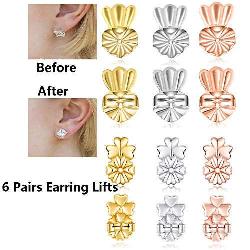 6 Pairs Original Magic Earring Lifters, TQsuen Magic Backs for Earrings Adjustable Secure Earring Lifts Safety Drooping Earring Backs for Ear Lobe Lifter (2 Silver/ 2 Gold/ 2 Rose Gold) Style 2