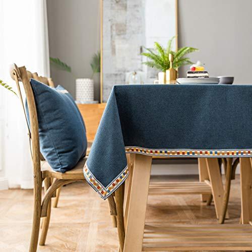 CNYG Tovaglia rettangolare impermeabile lavabile in poliestere tinta unita, tovaglia decorativa in tessuto per tavolo da pranzo, buffet feste e campeggio blu 110 x 110 cm