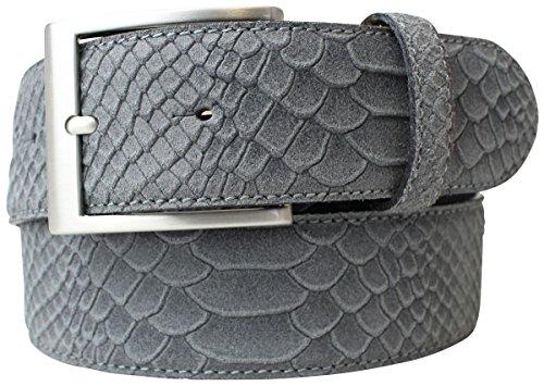 Gürtel mit Pythonprägung 4,0 cm | Leder-Gürtel für Damen Herren 40mm Schlangen-Optik |Schlangen-Muster Python-Muster | Dunkelgrau 80cm