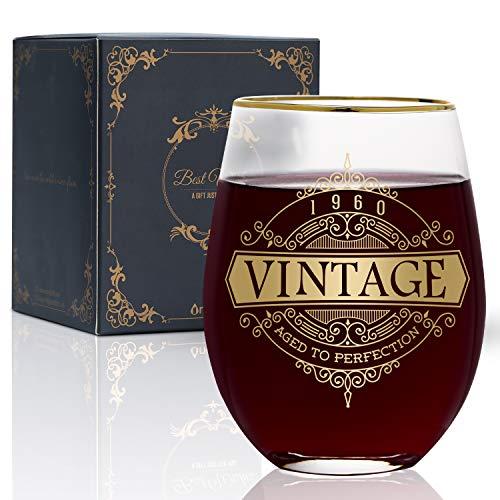 Onebttl Geschenk für Frauen 60. Geburtstag – 530ml Weinglas - 1960 Geburtstagsdekorationen für Frauen - Geschenkideen zum 60-iger Geburtstag für Sie, Mama, Ehefrau – Retro 1960 Geschenk
