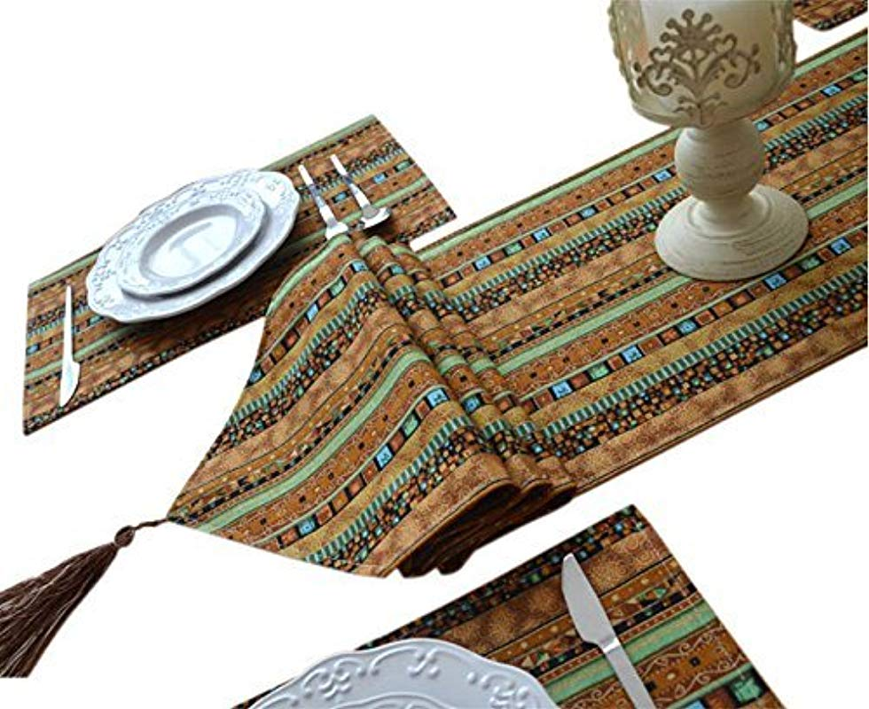 Yoovi Reversible 1pc Table Runner And 4pcs Placemats Set Cotton And Linen Blend Ethnic Tribal Striped 11 8 X 70