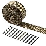 Tebery 15M Hitzeschutzband Basaltfaser Auspuffband mit Kabelbinder für Fächerkrümmer Thermoband