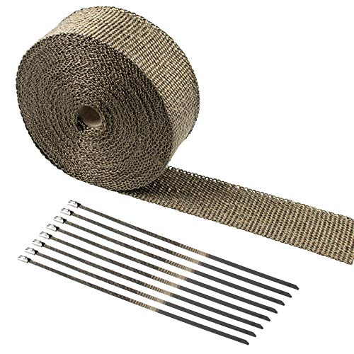 Tebery 15M Hitzeschutzband Basaltfaser Auspuffband mit Kabelbinder für Fächerkrümmer Thermoband Krümmerband