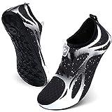 JIASUQI Mens Beach Swimming Pool River Aqua Water Shoes for Beach White 13-14 Women, 10.5-11 Men