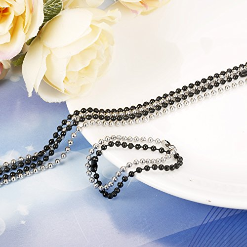 2PCS Stainless Steel Military Dog Tag Ball Chain Necklace for Men Women 2.4mm Bead Chain Set with Connector Silver Tone Black 20-30 Inches