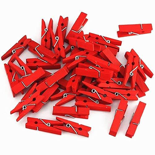 Cosanter 50 X Mini Pince à Linges en Bois pour Décoration de Scrapbooking Multi Décoration de Fête de Mariage Rouge