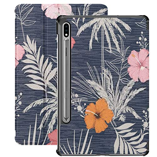 Samsung Galaxy S7 Case with S Pen Holder Trendy Summer Hawaii Print Vector Seamless Pu Leather Case for Samsung Galaxy Tab S7 11 Inch 2020,Samsung Galaxy Tab S7 Case Cover with Auto-Wake/Sleep