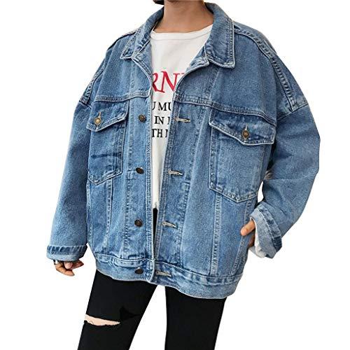 KUKICAT Jeansjacke Damen Blau Langarm Lose Große Jeansjacke Sweater