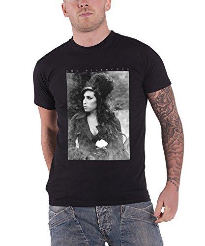 Amy Winehouse Flower Portrait logo offiziell Nue Schwarz T Shirt