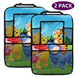 ALBXSWRR 2 Pack Backseat Car Organizer- Anime Cartoon Winnie The Pooh Car Accessories, Kick Mats Back Seat Protector With Increased Tablet Holder